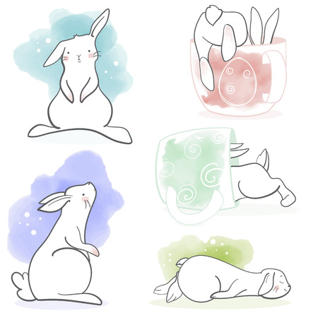 Cute rabbit in cartoon style big set. Vector illustration. Elements for greeting card, poster, banners. T-shirt, notebook and sticker design