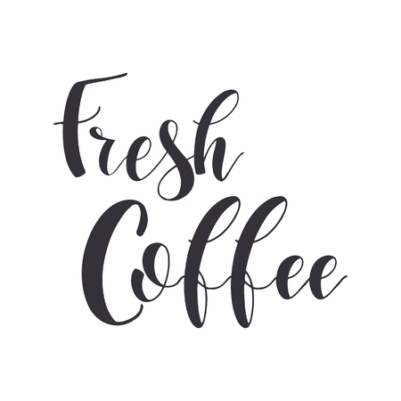 Coffee Quotes. Fresh coffee. Graphic design lifestyle texts. Shop promotion motivation. Elements for greeting card, poster, banners, coffee cups and mug, T-shirt, notebook and sticker design Banco de Imagens