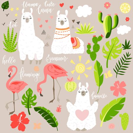 Lama in cartoon style. Stickers. Hand drawn illustration. Elements for greeting card, poster, banners. T-shirt, notebook and sticker design
