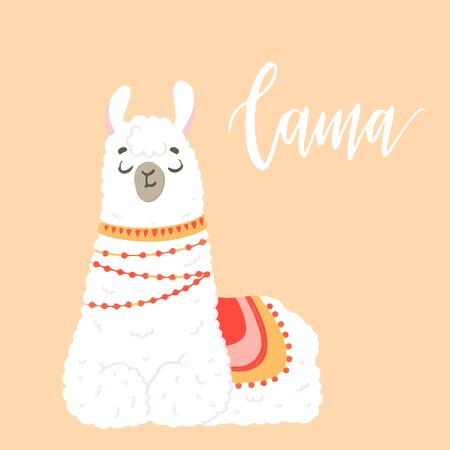 Lama in cartoon style. Stickers. Hand drawn illustration. Elements for greeting card, poster, banners. T-shirt, notebook and sticker design Stok Fotoğraf - 132122083