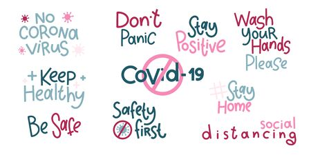 Covid-19 stickers set. Coronavirus lettering. Elements for poster, banners, coffee cups and mug, T-shirt and notebook. 版權商用圖片