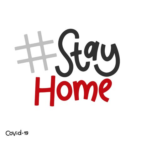 Covid-19 stickers. Stay home. Coronavirus lettering. Elements for poster, banners, coffee cups and mug, T-shirt and notebook. 版權商用圖片 - 144112866