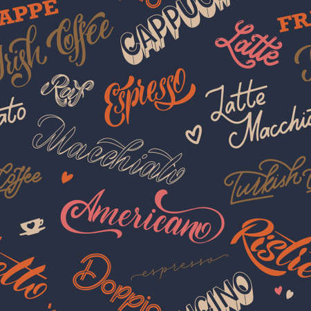 Coffee lettering pattern. Design for print, poster
