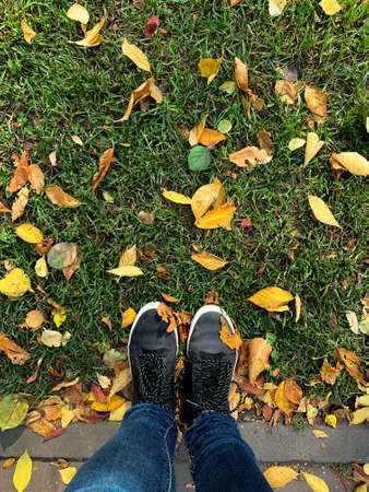 Conceptual image of legs in boots on the autumn leaves