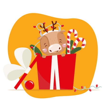 Cute little ox. Chinese new year 2021. Christmas 版權商用圖片 - 156310696