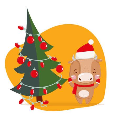 Cute little ox. Chinese new year 2021. Christmas 版權商用圖片 - 156310701