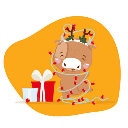 Cute little ox. Chinese new year 2021. Christmas