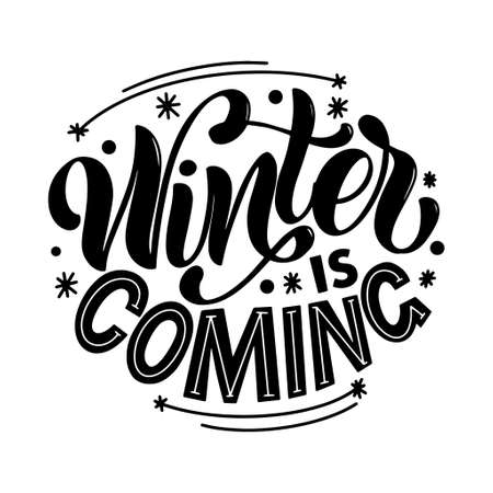 Winter and New Year card lettering design elements
