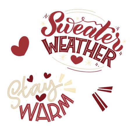 Handwritten winter lettering set. Winter and New Year card design elements. Typographic design. Vector illustration. 版權商用圖片 - 156310780