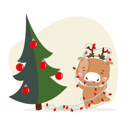 Cute little ox. Chinese new year 2021. Ox with new year tree