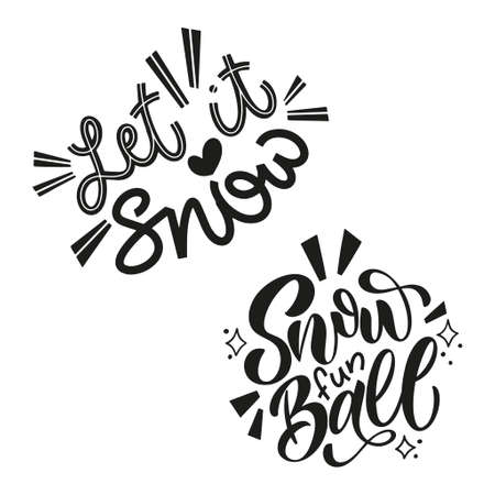 Handwritten winter lettering set. Winter and New Year card design elements. Typographic design. Vector illustration. 版權商用圖片 - 156419172