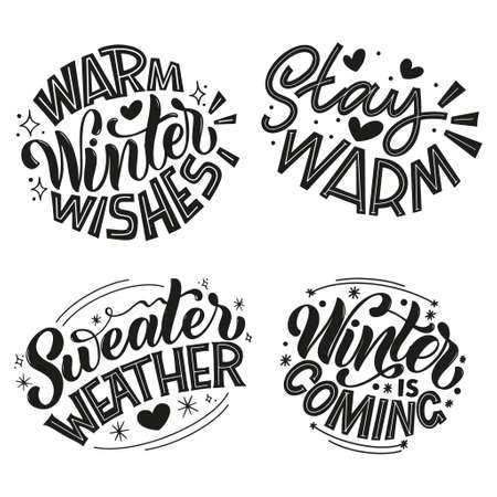 Handwritten winter lettering set. Winter and New Year card design elements. Typographic design. Vector illustration. 向量圖像