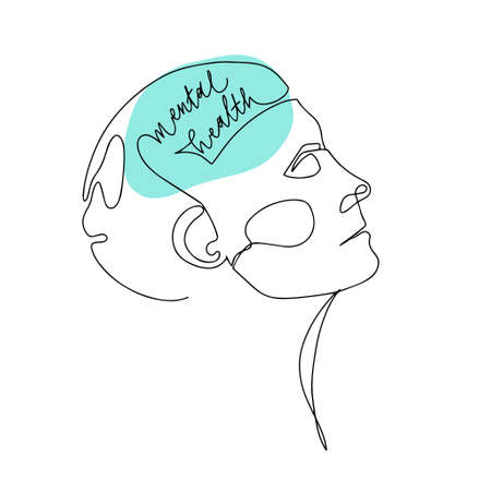 Mental Health For Women. Line Drawing of Human Head With Quote In His Brain. Illustration For Therapist And Psychologist 版權商用圖片 - 156665791