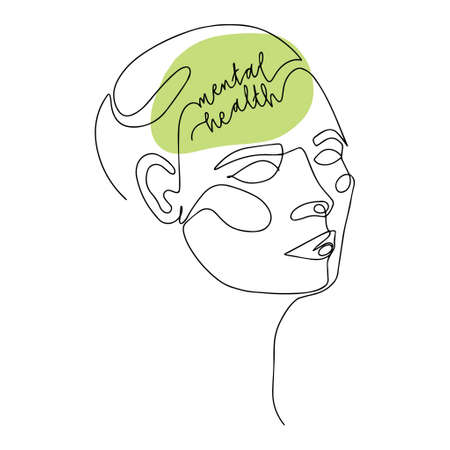 Mental Health For Women. Line Drawing of Human Head With Quote In His Brain. Illustration For Therapist And Psychologist 向量圖像