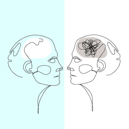 Line Drawing of Two Human Heads With Confused Thoughts In One Brain And Clear IN Another. Illustration For Therapist And Psychologist 版權商用圖片 - 156665788