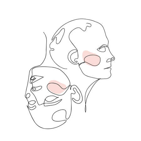 Continuous Line Drawing Of Two Woman Heads. Fashion Minimalist Concept. Illustration Of Line Art 版權商用圖片 - 156665794