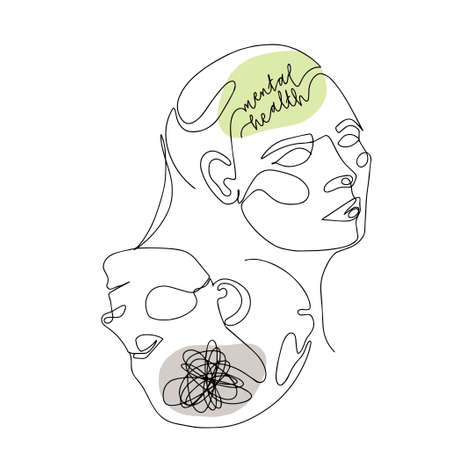 Mental Health For Women. One Line Drawing of Two Human Mirrored Heads With Quote In Brain. Illustration For Therapist And Psychologist