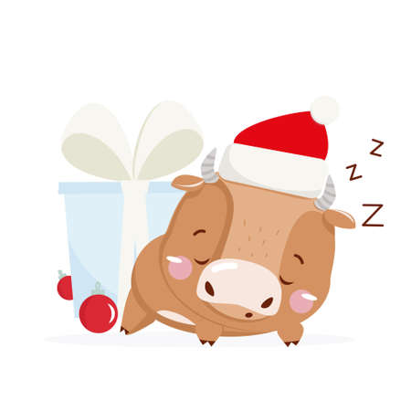 Cute little ox. Chinese new year 2021. Sleeping ox