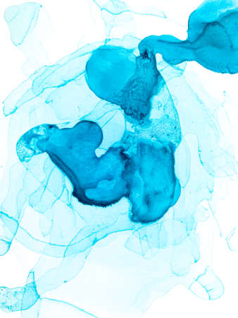 Watercolor Blue Splash. Alcohol Ink Texture. Abstract Colorful Background. Hand Painted Watercolor Texture 版權商用圖片