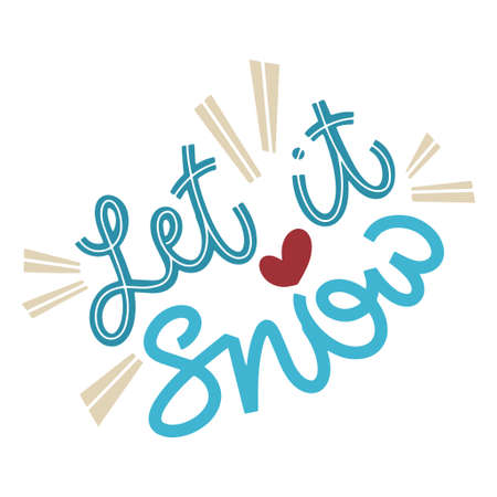 Let it snow. Handwritten winter lettering. Winter and New Year card design elements. Typographic design. Vector illustration. 版權商用圖片 - 156566294