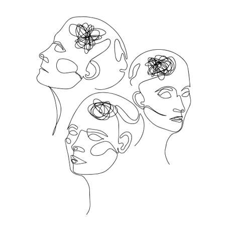 Line Drawing of Three Human Heads With Confused Thoughts In Their Brain. Vector Illustration For Therapist And Psychologist