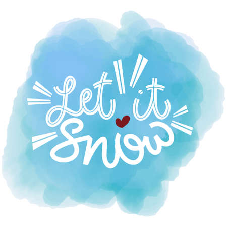 Let it snow. Handwritten winter lettering. Winter and New Year card design elements. Typographic design. Vector illustration.