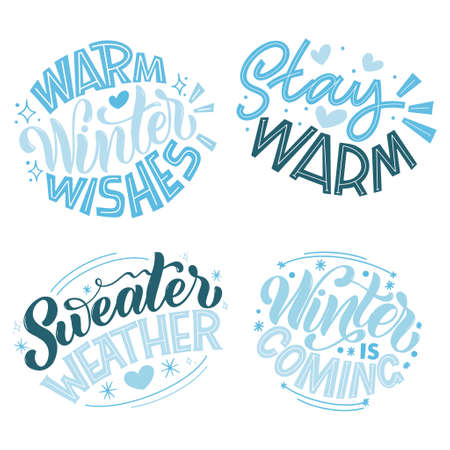 Handwritten winter lettering set. Winter and New Year card design elements. Typographic design. Vector illustration. 版權商用圖片 - 156736521