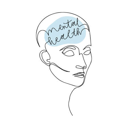 Mental Health For Women. Line Drawing of Human Head With Quote In His Brain. Vector Illustration For Therapist And Psychologist 版權商用圖片 - 156736519