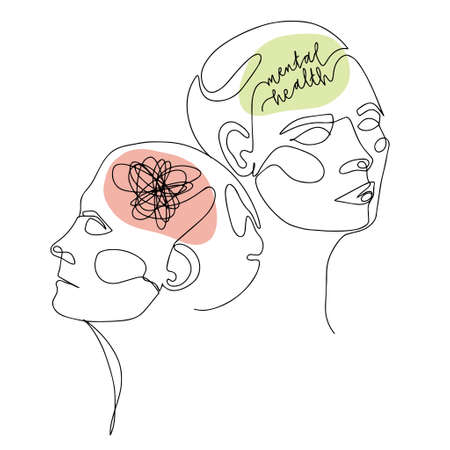Mental Health For Women. One Line Drawing of Two Human Heads With Quote In Brain. Vector Illustration For Therapist And Psychologist 版權商用圖片 - 156736523