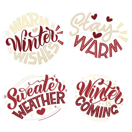Handwritten winter lettering set. Winter and New Year card design elements. Typographic design. Vector illustration. Иллюстрация