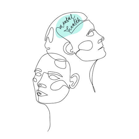 Mental Health For Women. One Line Drawing of Two Human Heads With Quote In Brain. Vector Illustration For Therapist And Psychologist