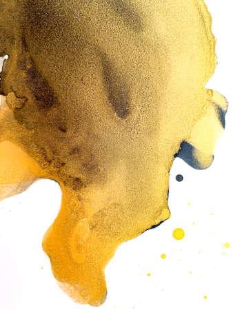 Watercolor Gold and Black Splashes. Alcohol Ink and acrylic Painting Texture. Abstract Colorful Background. Hand Painted 版權商用圖片 - 156992879