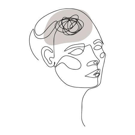 Line Drawing of Human Head With Confused Thoughts In His Brain. Vector Illustration For Therapist And Psychologist 版權商用圖片 - 157029017