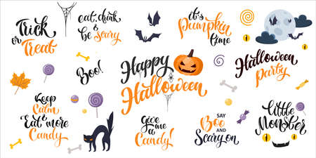 Halloween cartoon lettering set. Hand written text with popular halloween quotes. Vector design for banners, card, poster, flyer and party invitations 版權商用圖片 - 157029033