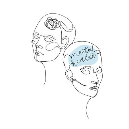 Mental Health For Women. One Line Drawing of Two Human Heads With Quote In Brain. Vector Illustration For Therapist And Psychologist 版權商用圖片 - 157029035