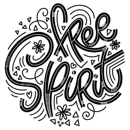 Free Spirit lettering in doodle style. Inspirational and motivational quote. Design for print, poster, card, invitation, t-shirt, badges and sticker 版權商用圖片 - 157029042
