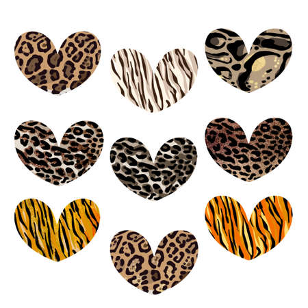Heart set with animalistic print. Leopard, jaguar, lion, tiger skin print. Fashion Design for print, poster, card, t-shirt, badges and sticker. 版權商用圖片 - 157029053