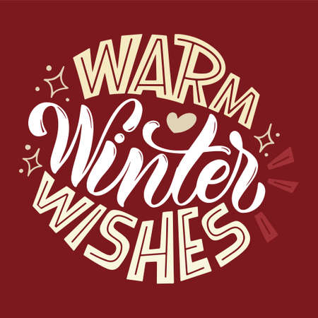 Warm winter wishes. Handwritten winter lettering. Winter and New Year card design elements. Typographic design. Vector illustration.
