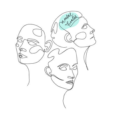 Mental Health For Women. One Line Drawing of Three Human Heads With Quote In Brain. Vector Illustration For Therapist And Psychologist