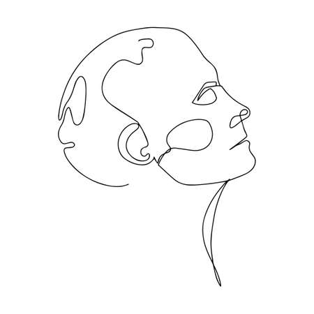 Continuous Line Drawing Of Woman Head. Fashion Minimalist Concept. Vector Illustration Of Line Art 向量圖像