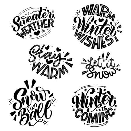 Handwritten winter lettering set. Winter and New Year card design elements. Typographic design. Vector illustration. 向量圖像