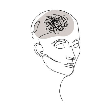 Line Drawing of Human Head With Confused Thoughts In His Brain. Vector Illustration For Therapist And Psychologist