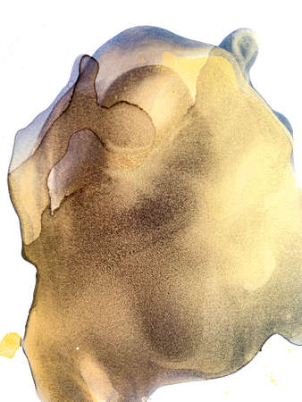 Watercolor Gold and Black Splashes. Alcohol Ink and acrylic Painting Texture. Abstract Colorful Background. Hand Painted 版權商用圖片