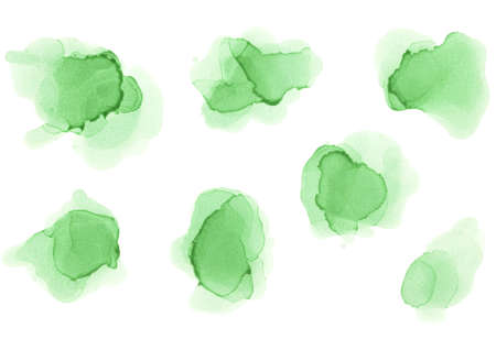 Watercolor Green Splashes Set. Alcohol Ink Texture. Abstract Colorful Watercolor Background. Hand Painted