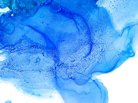 Watercolor Blue Splashes. Alcohol Ink Painting Texture. Abstract Colorful Watercolor Background. Hand Painted