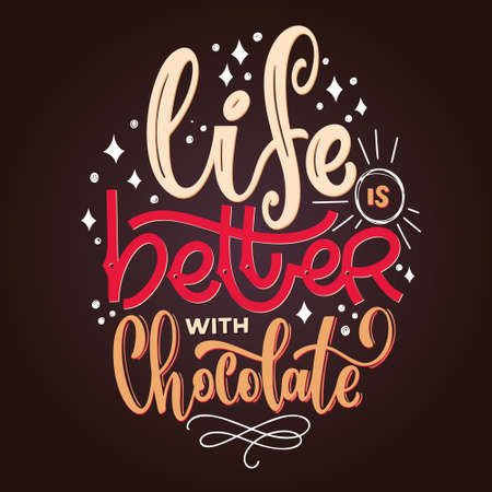 Chocolate hand lettering quote. Colorful Christmas winter word composition. Vector design elements for t-shirt, bag, poster, card, stickers and menu 矢量图像