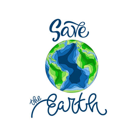 Save the Earth quote with planet. Hand lettering quote design for shopping bags, t-shirts, apparel, clothes, posters, banners. Illustration