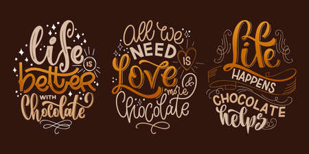 Chocolate hand lettering quotes set. Colorful Christmas word composition. Vector design elements for t-shirt, bag, poster, card, sticker and menu 矢量图像