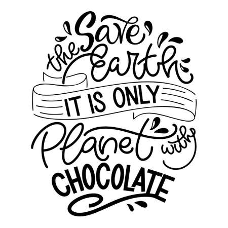 Chocolate hand lettering quote. Warm Christmas winter word composirion. Vector design elements for t-shirts, bags, posters, cards, stickers and menu