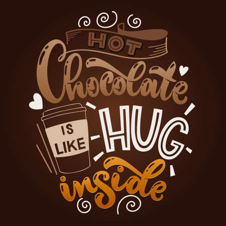 Chocolate hand lettering quote. Colorful Christmas winter word composition. Vector design elements for t-shirts, bag, poster, card, stickers and menu 矢量图像